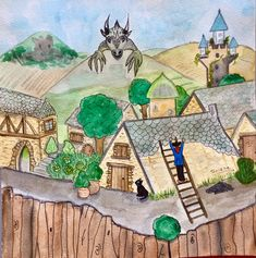 Les aventures de Drackou en Aveyron... Illustration, Painting, Studio, Illustrations, Painting Art, Paintings, Painted Canvas, Drawings, Character Illustration
