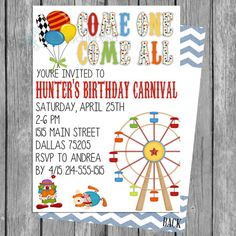 Circus/Carnival Boy Birthday Invitation Photo Card 5x7 PRINTABLE on Etsy, $6.75
