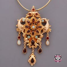Victorian Opal, Garnet, 14k And 18k Rose And Yellow Gold Necklace