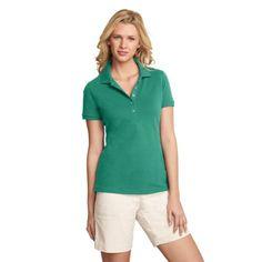 Eddie Bauer Womens Short-Sleeve Piqué Polo, Mineral Green XL Regular Gender: Womens.  #Eddie_Bauer #Apparel