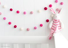 Little Miss Pinky - Felt ball garlands are great not only for nursery and home décor, but also for parties, showers, weddings, and special occasions and even if you think you have a plain wall to decorate! They are versatile, reusable and always add a whimsical and beautiful touch to any ambience, backgrounds and liven up that environment. Colours: Cranberry, Hot Pink, Candy Pink, Dusty Pink, Cream  Details: • Handmade with 100% wool felt balls of 2.5cm each (about 1 inch) • Strung on a…