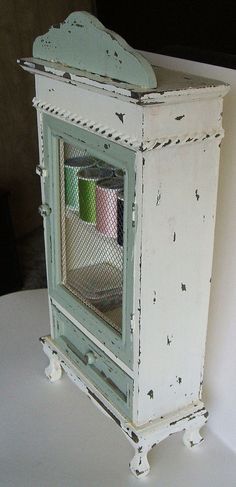 SEWING Cabinet Vintage Cottage  Distressed by RoseGardenStitches, $35.00