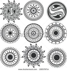 Tattoo, the mandala. A set of ethnic tattoos and mandalas.
