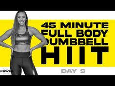 45 Minute Full Body Dumbbell HIIT Workout | POWER Program - Day 9 - YouTube Cardio For Fat Loss, Fat Burning Cardio, Reduce Arm Fat, Work Out Routines Gym, Exercise Routines, Best Cardio, Lose Weight In A Week, Belly Fat Workout, Workout Machines