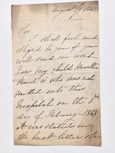 Mother's letter -- Byatt a. From the archives of Coram, formerly the Foundling Hospital, held at London Metropolitan Archives London Metropolitan, What Is Life About, London England, Museum, Illustrations, Lettering, History, Historia, Illustration