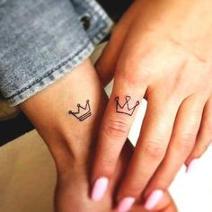 Exceptional tiny tattoos are readily available on our site. Check it out and you wont be sorry, you did. Distinctive tiny tattoos are available on our website. Test it out and … Crown Tattoos For Women, Tiny Tattoos For Girls, Cute Couple Tattoos, Tattoos For Women Small, Couple Tattoo Ideas, Disney Couple Tattoos, Small Sister Tattoos, Couple Ideas, Bff Tattoos