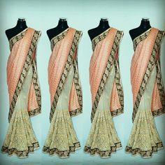 Fille Avis Designer Creamy net Saree With Wrinkle Fabric tomato color Pallu....