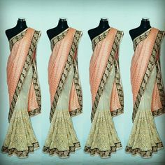 Fille Avis Designer Creamy net Saree With Wrinkle Fabric tomato color Pallu....
