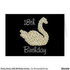 Daisy Swan 18th Birthday Invitation