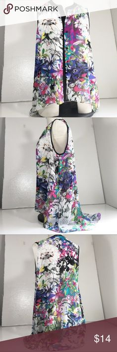 """Nicole By Nicole Miller Vest High Low Floral Large Nicole By Nicole Miller Women's Vest High Low Floral Sleeveless Size Large L *Style Tip* Pair this with a white t-shirt and pair of shorts*  22"""" arm pit to arm pit 37 1/2"""" length Nicole by Nicole Miller Jackets & Coats Vests"""