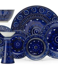 "scandinaviancollectors:"" ULLA PROCOPÉ, Valencia table ware by Arabia Oy, Finland, Stone ware. Blue Pottery, Vintage Pottery, Mid Century Decor, Mid Century Design, Gadgets And Gizmos, Marimekko, Scandinavian Design, Shades Of Blue, Valencia"