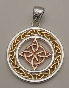 Celtic WITCHES Knot Pendant .925 Sterling Silver with pink and yellow Gold encircled Quaternary 4 Point Knot Amulet