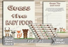 Woodland Guess The Baby Food  Printable Guess by DigitalitemsShop