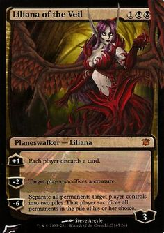 Altered mtg card Liliana of the Veil by Black Wing Studio http://www.squidoo.com/magic-the-gathering-altered-art-cards #mtg #magic #magicthegathering #painting #alteredart