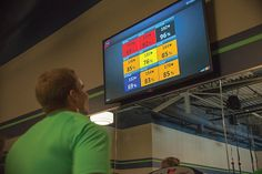 Heart rate based training with members names & heart rate on the screen.