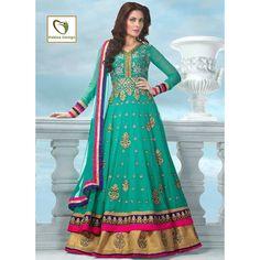 Woman Store :: Ethnic Wear :: Anarkali Suits :: PAKIZA-Stylish Cyan Sheded Anarkali suits - Customer Testimonials