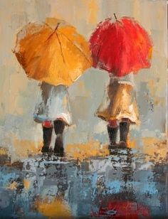 Canvas oil painting of little girl with her red umbrella. Illustrations, Illustration Art, Rain Art, Umbrella Art, Pics Art, Oeuvre D'art, Painting & Drawing, Art Projects, Art Photography