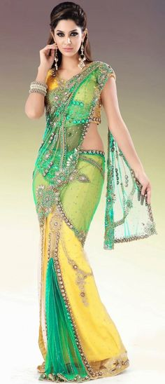 Yellow and Green Net Lehenga Style Saree this is so beautiful. look at all the intricate beading Lehenga Style Saree, Lehenga Saree, Saree Blouse, Indian Beauty Saree, Indian Sarees, Indian Dresses, Indian Outfits, Indian Clothes, Moda Indiana
