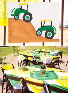 Creative John Deere Themed Party {Boys Birthday} Love those footprint tractors! Cute farm craft for kids