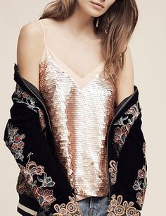 Rose Gold Sequined Cami Gold Glitter Wedding, Vintage Bohemian, Magpie, Out Of Style, Spring Summer Fashion, Going Out, Anthropologie, Camisole Top, Blush