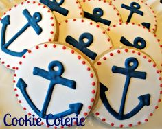 Anchor Cookies Nautical Decorated Cookies Birthday Party Baby Shower Cookie Favors One Dozen. $25.00, via Etsy.