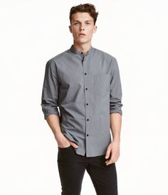 Gray. Long-sleeved, collarless shirt in woven fabric with one chest pocket…