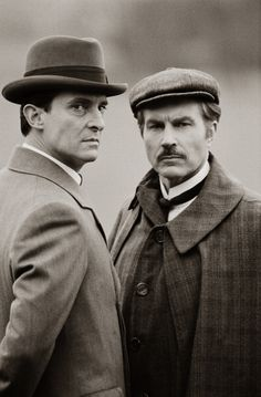 Jeremy Brett & David Burke as Holmes & Watson in the EXCELLENT Granada series 'Sherlock Holmes'. Available via box-sets and Netflix; plus other streaming Apps.