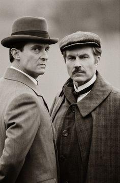 Jeremy Brett & David Burke. Sherlock Holmes and (the first) John Watson in the Granada TV series.