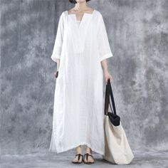Dress - Women Simple Loose And Comfortable Cotton Dress