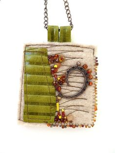 Fragments in beige, fiber art necklace featured in Sew Somerset Magazine summer 2013 . Fragments in beige, fiber art necklace featured in Sew Somerset Fiber Art Jewelry, Mixed Media Jewelry, Textile Jewelry, Fabric Jewelry, Jewelry Art, Jewellery, Fabric Beads, Fabric Art, Fabric Crafts