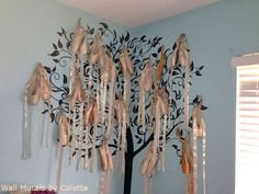 What does a ballet tree look like? I hand-painted a black silhouette tree. Worn pointe shoes are hanging from the branches. It's a ballet tree mural! Tree Wall Murals, Tree Wall Art, Mural Painting, Painting For Kids, Paintings, Kids Bedroom Wallpaper, Wallpaper Ideas, Family Tree Drawing, Artistic Tree