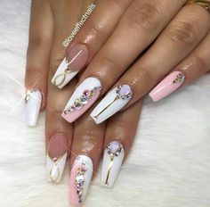 Party nails. Pink and white.