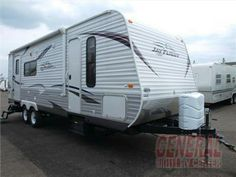 Used 2012 Jayco Jay Flight 25RKS - Single Slide Jay Flight Travel Trailer, Rear Kitchen w/Refrigerator, Microwave, 3-Burner Range, Dbl. Kitchen Sink, J-Steel Sofa, Ward., Private Toilet Area, TV/Ward., Dbl. Wardrobes, Queen Bed, Lav., Med. Cab., Shower, Extendable U-Dinette/Entertainment Center Slide, Overhead Cabinets Throughout, 15' Awning & Much More. Click To View Full Description, Floorplan, Additional Interior/Exterior Photos & Sale Price #sale #rv #trailer #camping