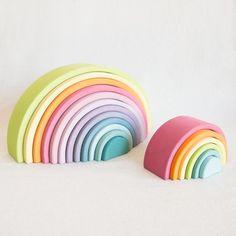 Grimm's Pastel Rainbow Puzzle at General Store Rainbow Bedroom, Rainbow Nursery Decor, Pastel Nursery, Pastel Girls Room, Girl Nursery, Fantasy Bedroom, Big Girl Bedrooms, Wooden Rainbow, Rainbow Baby