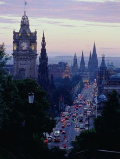 Evening Light Over Princes Street from Carlton Hill, Edinburgh, Scotland