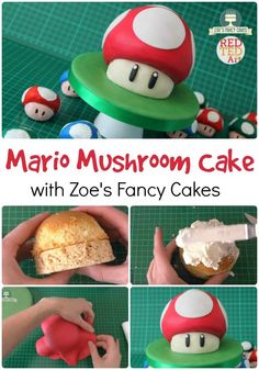 Red Ted Art is Calling all Mario Bros Fans! Make this Easy DIY Mario Mushroom Cake. Great for all Gamers. This is a delicious and easy Buttercream and Fondant Icing cake. Super Mario Cupcakes, Super Mario Party, Super Mario Bros, Mario Bros Kuchen, Mario Bros Cake, Luigi Cake, Mushroom Cupcakes, Mushroom Cake, Mario Birthday Cake
