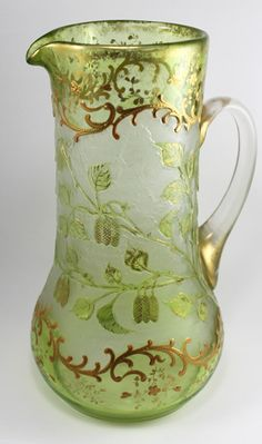 Antique Moser Cameo and Enamelled Art-Glass Jug/Ewer - Signed ★༺❤༻★
