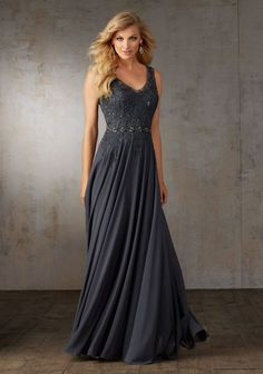 Evening Dresses and Mother of the Bride Dresses by Morilee by Madeline Gardner. Chiffon A-line Evening Gown with Embroidery and Delicate Beading on Bodice.