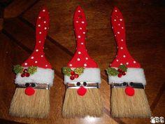 "Santa paintbrush ornaments (2"" paintbrush, paint, google eyes, pom poms, cotton/fleece)"