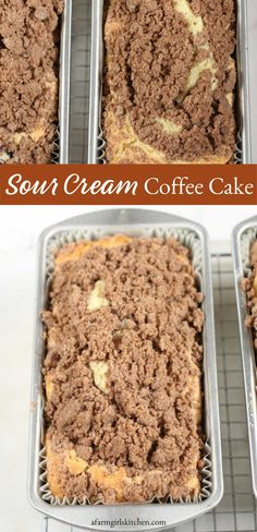 Sour Cream Coffee Cake is super moist and makes the perfect holiday dessert. Topped with a homemade streusel topping. delicious Sour Cream Coffee Cake is super moist and makes the perfect holiday dessert. Topped with a homemade streusel topping. Köstliche Desserts, Delicious Desserts, Yummy Food, Plated Desserts, Baking Recipes, Cake Recipes, Dessert Recipes, Food Cakes, Cupcake Cakes