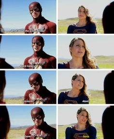 """""""Wait, do you not know who I am?"""" """"Should I?"""" #Supergirl #1x18 #SuperFlash crossover"""
