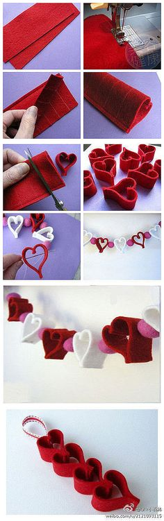 Valentine Heart Chain + Felt Ornament & Garland Ideas Heart garland - super cute and SO easy! Use red and alternated with cotton balls (easier to string).Heart garland - super cute and SO easy! Use red and alternated with cotton balls (easier to string). Valentines Bricolage, Valentine Day Crafts, Valentine Decorations, Valentine Heart, Holiday Crafts, Holiday Fun, Heart Decorations, Valentine Gifts For Him, Homemade Valentines