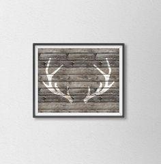 Deer Antler Shabby Chic Art Print. Wood by SamsSimpleDecor on Etsy