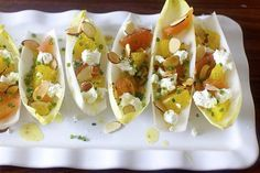 endives with oranges, goat cheese, and almonds in a sherry vinaigrette #glutenfree #cleaneating