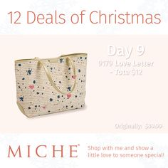 On the 9th day of Christmas,in a season so Merry, We all need something for treats and treasures to carry, So put on those mittens and button that coat and for only $12 this Love Letter Tote! #12dealsofChristmas #accessories #miche #totes #loveletter #whatwomenwant #whatwomenneed