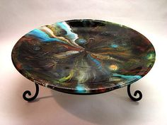 SALE 10 OFF  Fused Glass Plate  Gathering Storm by CreationInGlass, $129.00