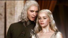 Game of Thrones (series 2011 - ) Starring: Harry Lloyd as Viserys Targaryen and Emilia Clarke as Daenerys Targaryen. (click thru for high res)