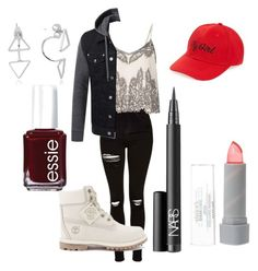 """""""Untitled #79"""" by gilda-golden on Polyvore featuring Topshop, Miss Selfridge, Timberland, Amici Accessories, NARS Cosmetics, Glitter Pink and Essie"""