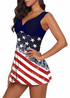 Navy Blue Wide Strap Flag Print Swimdress and Shorts Cute Country Girl, Black Leggings Style, Bra Styles, Hair Styles, Black Swimsuit, Plus Size Swimwear, Swim Dress, Star Print, Swimsuits