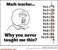 Multiplication This is awesome! My mom taught me this growing up and I am now teaching my daughter it. My own math teacher at the time didn't even realize it until I showed her one day what Mom had shown me. :-) Make math easier for your kiddos! Math Teacher, Teaching Math, Math Tutor, Math Class, Teacher Quotes, Teacher Funnies, Math Quotes, Kids Education, Kids Learning